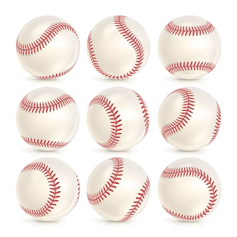 Ensemble de balles de cuir de baseball isolé
