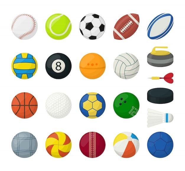 Ensemble de balles pour différents types de sports, isolé sur blanc