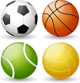 Ensemble de balles de sport brillantes