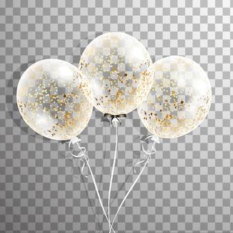 Ensemble de ballon transparent blanc avec des confettis isolés dans l'air. ballons de fête givrés pour la conception d'événements. décorations de fête pour anniversaire, anniversaire, célébration. ballon transparent brillant.