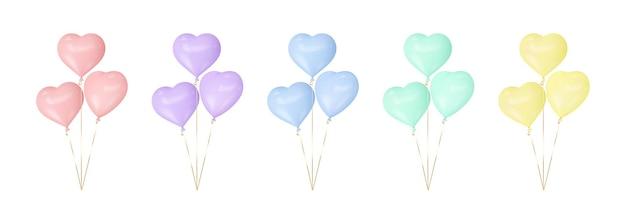 Ensemble de ballons coeur colorés.