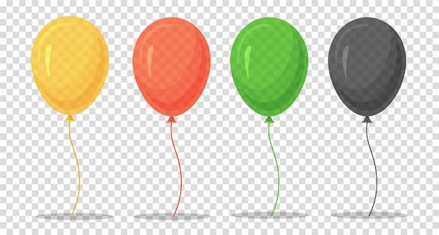 Ensemble de ballons colorés de dessin animé isolé sur transparent.