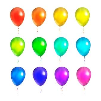 Ensemble de ballons colorés lumineux isolés sur blanc