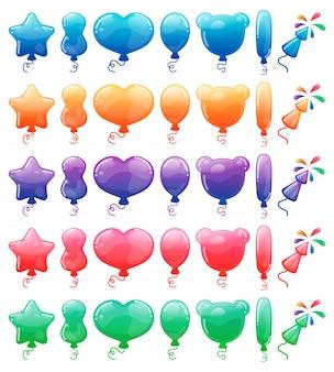 Ensemble de ballons de dessin animé de couleur et de feux d'artifice.