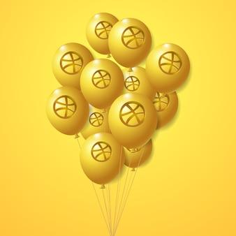 Ensemble de ballons dorés avec logo dribbble