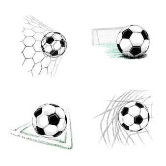 Ensemble de ballons de football sur fond blanc. illustration vectorielle