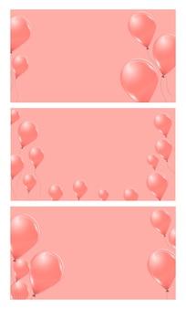 Ensemble de ballons à l'hélium rose sur fond rose