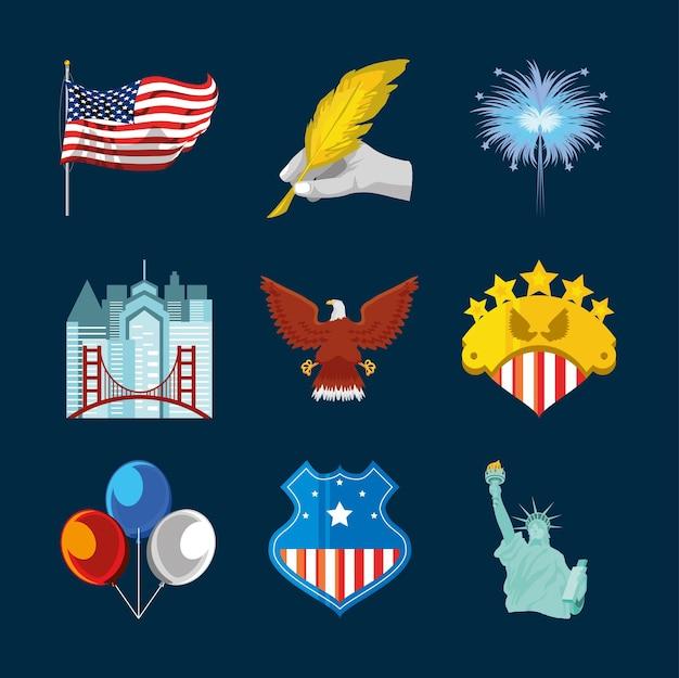 Ensemble de ballons de statue de drapeau américain