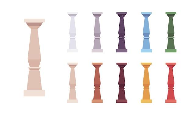 Ensemble de balustres de colonne. broche, pilier court pour éléments de design décoratif, rampe d'escalier, décoration extérieure. illustration de dessin animé de style plat vecteur isolé sur fond blanc, différentes couleurs vives