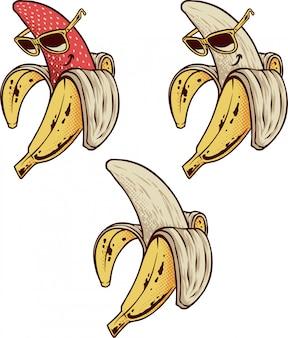 Ensemble de banane dessiné à la main