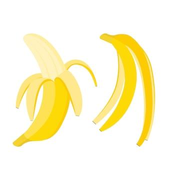 Ensemble de bananes. fruits et écorces entiers ouverts, illustration vectorielle