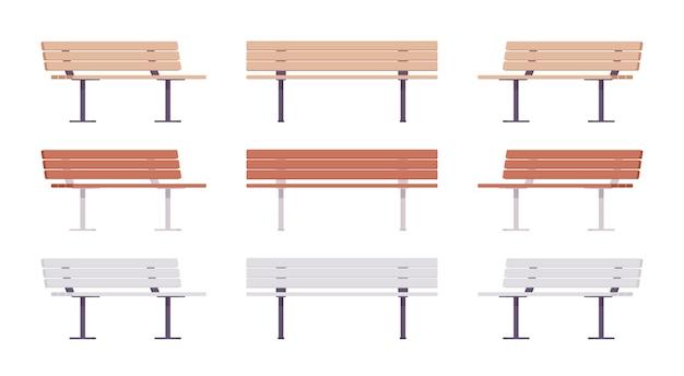 Ensemble de bancs de rue en bois. siège long confortable pour plusieurs personnes, parc public d'état ou élément de détente de jardin. architecture de paysage et concept urbain. illustration de dessin animé de style