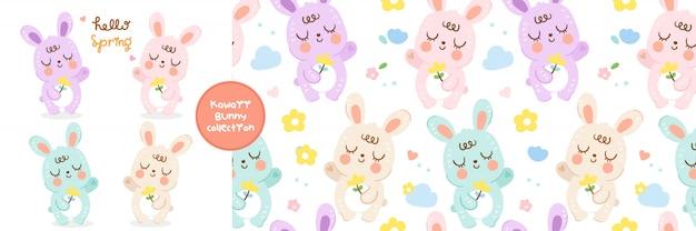 Ensemble de bande dessinée de lapins lapin et collection de modèles sans couture