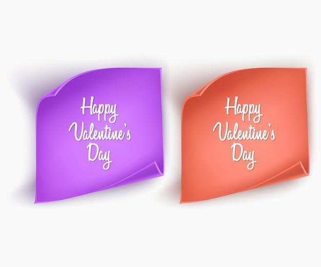 Ensemble de banderoles en papier de couleurs bleues et jaunes pour les voeux de la saint-valentin