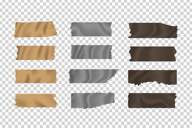 Ensemble de bandes collantes adhésives réalistes sur le fond transparent pour la décoration et le revêtement.