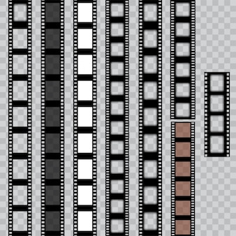 Ensemble de bandes de film déchirées usées. film négatif de cinéma. vecteur.