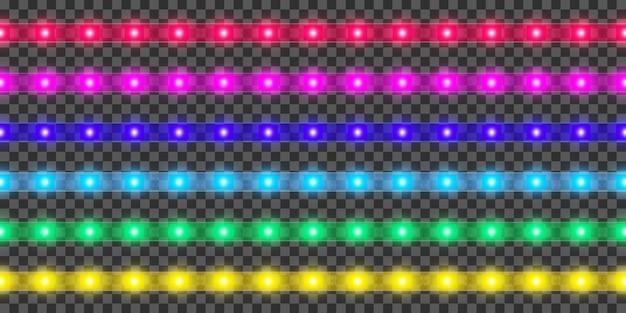 Ensemble de bandes led. décoration de ruban lumineux réaliste coloré.