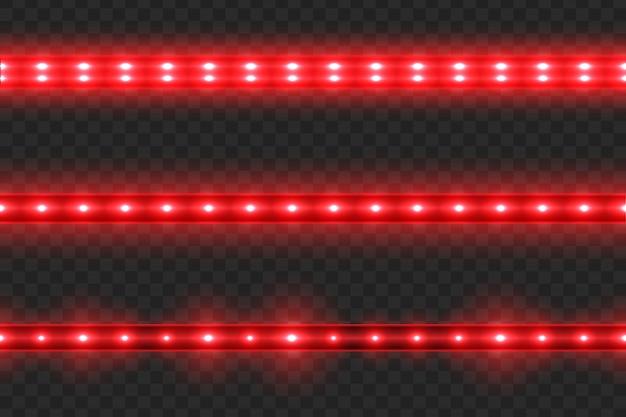 Ensemble de bandes de lumière rougeoyante led transparente sur transparent