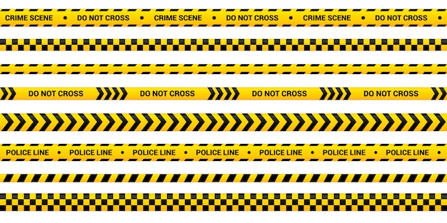 Ensemble de bandes de police, bande d'avertissement jaune de conception différente. modèle de ligne de police pour la zone de crime, accident, meurtre. bordure jaune avec texte d'avertissement.