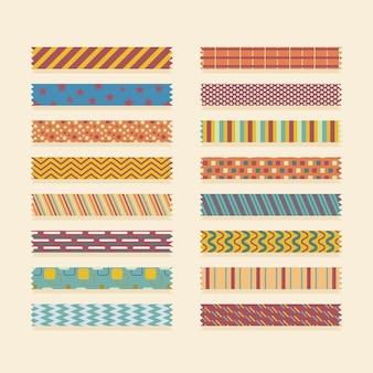 Ensemble de bandes de washi plat de différentes couleurs