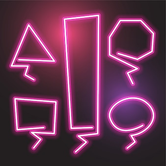 Ensemble de bannière abstrait vector néon. conception de modèle rose.