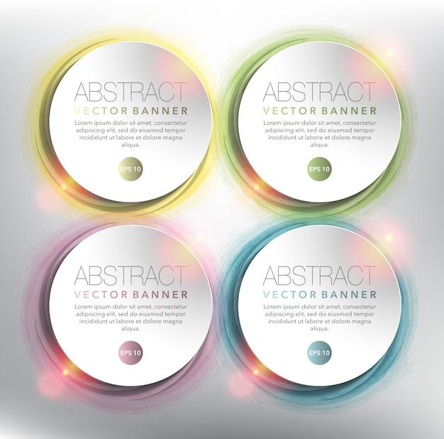 Ensemble de bannière abstraite de 4. cercles de papier blanc sur la conception circulaire dessinée à la main. isolé