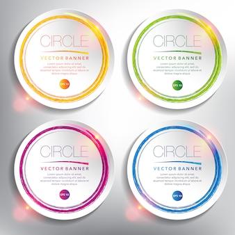 Ensemble de bannière abstraite de 4. cercles de papier blanc avec un design circulaire dessiné à la main. isolé