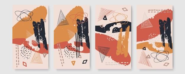Ensemble de bannière abstraite avec espace de copie et coups de pinceau et marques de main. papier peint tendance avec aquarelle, feuilles tropicales encadrées, pinceau et paillettes de pinceau