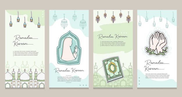 Ensemble de bannière d'affiche de modèle de médias sociaux ramadan