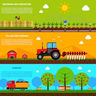 Ensemble de bannière agricole