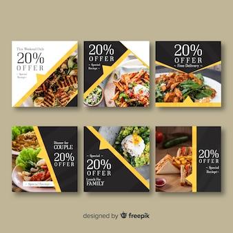 Ensemble de bannière alimentaire photographique carrée
