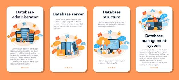 Ensemble de bannière d'application mobile administrateur de base de données