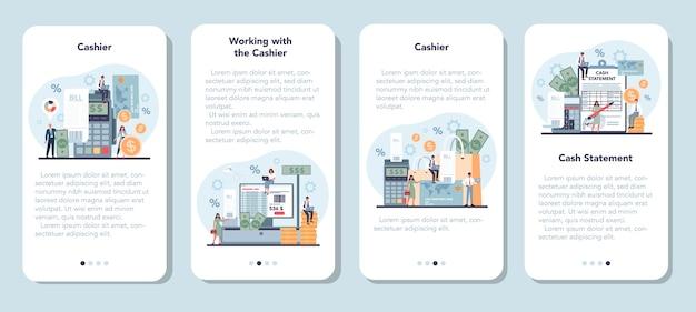 Ensemble de bannière d'application mobile caissier