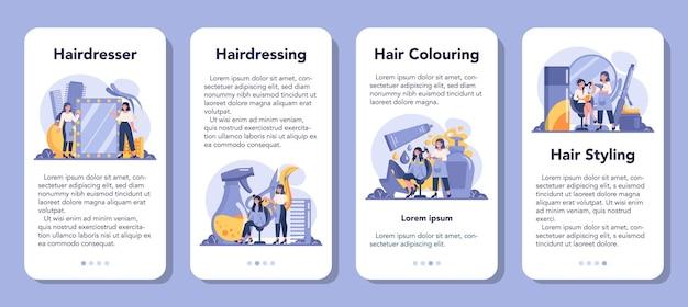 Ensemble de bannière d'application mobile coiffeur