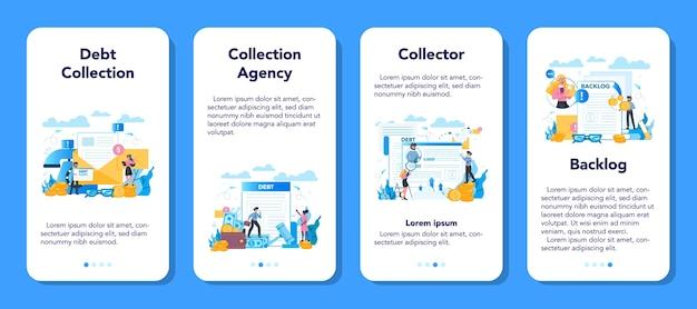 Ensemble de bannière d'application mobile de collecteur de dette