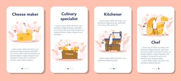 Ensemble de bannière d'application mobile concept de fabricant de fromage