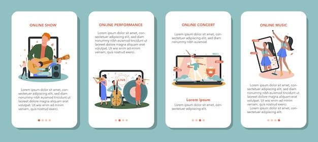 Ensemble de bannière d'application mobile de concert en ligne