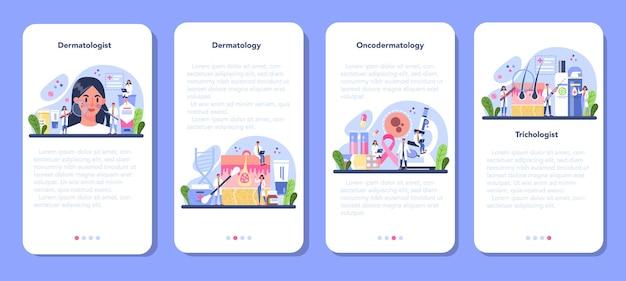 Ensemble de bannière d'application mobile dermatologue