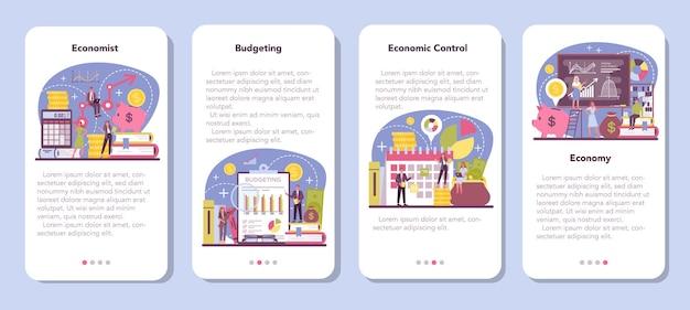 Ensemble de bannière d'application mobile économiste
