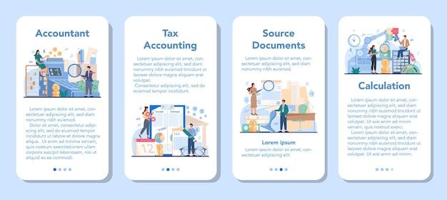 Ensemble de bannière d'application mobile de gestionnaire de bureau comptable
