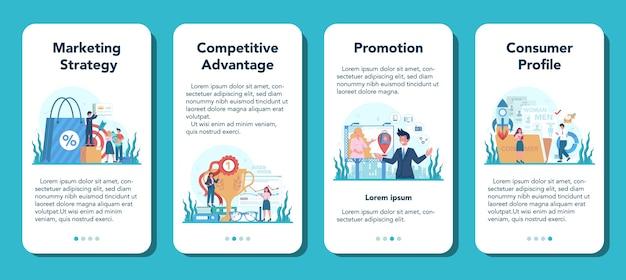 Ensemble de bannière d'application mobile marketer