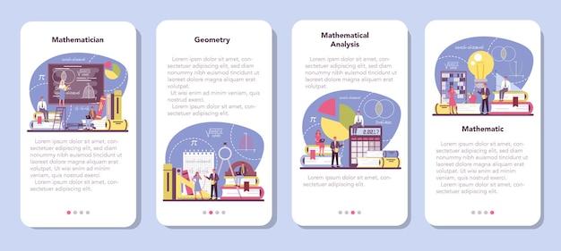 Ensemble de bannière d'application mobile mathématicien