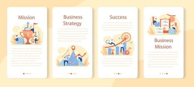 Ensemble de bannière d'application mobile de mission de marque