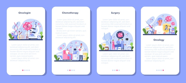 Ensemble de bannière d'application mobile oncologue professionnel.