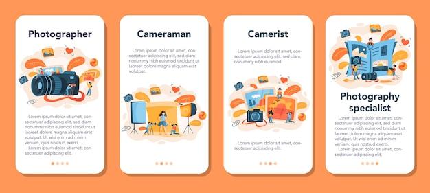 Ensemble de bannière d'application mobile photographe