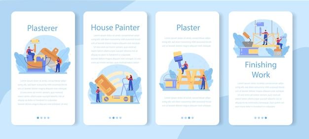 Ensemble de bannière d'application mobile de plâtrier de mur de maison.