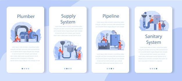 Ensemble de bannière d'application mobile plombier