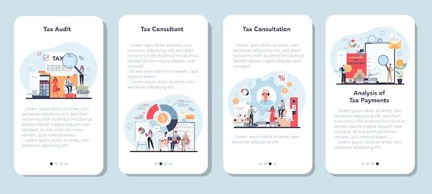 Ensemble de bannière d'application mobile pour consultant fiscal