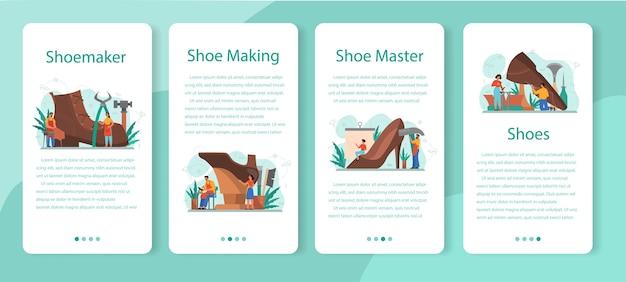 Ensemble de bannière d'application mobile shoemaker