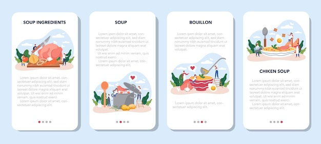 Ensemble de bannière d'application mobile de soupe au poulet. repas savoureux et plat prêt. viande de poulet, oignon et pomme de terre, ingrédient carotte. dîner ou déjeuner maison dans l'assiette. illustration plate